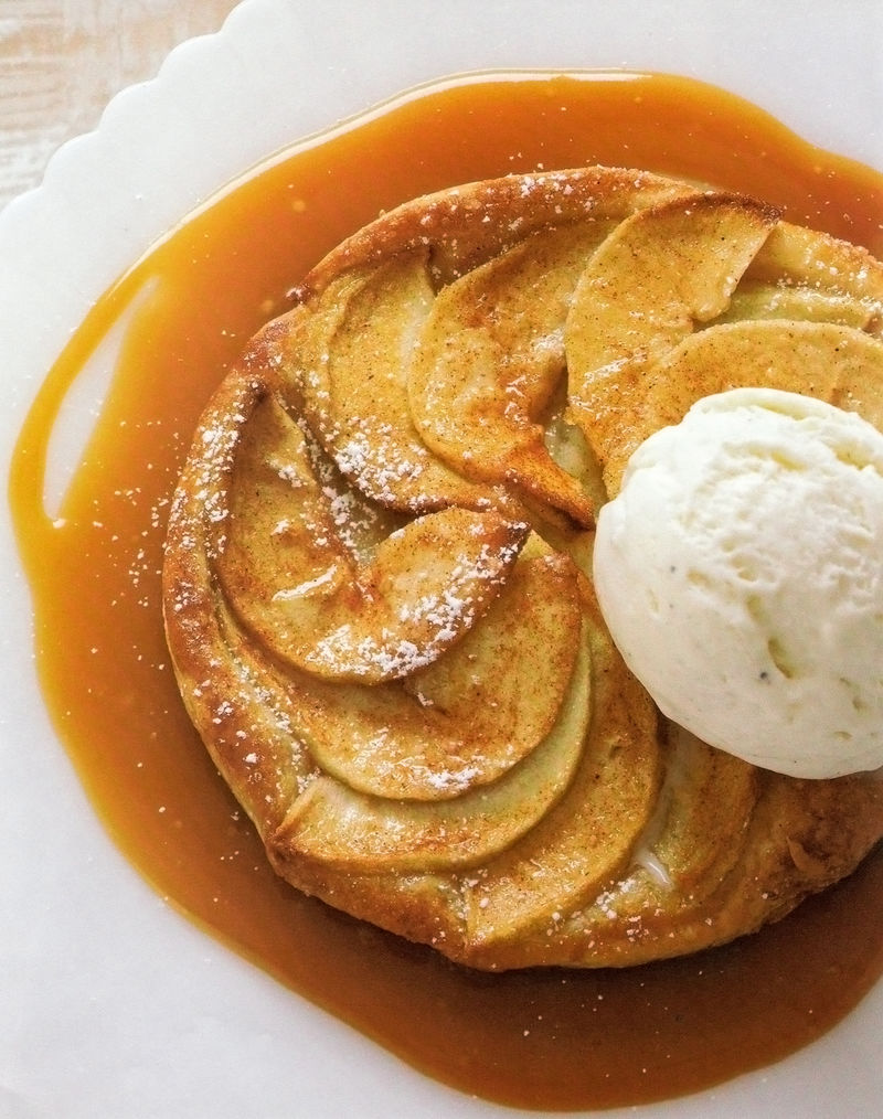 Apple Tart With Caramel Sauce & Vanilla Ice Cream