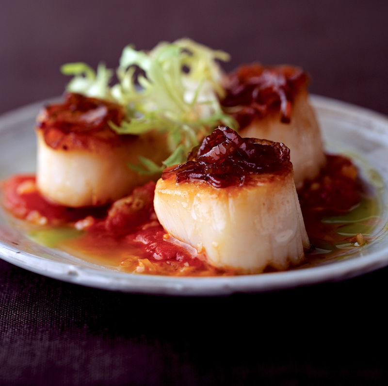 Scallops With Tomato Ragut and Caramelized Shallots