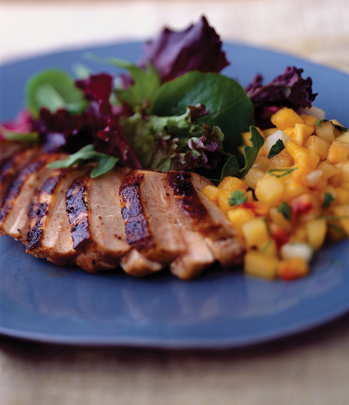 Blackened Chicken Breast with Fruit Salsa & Greens