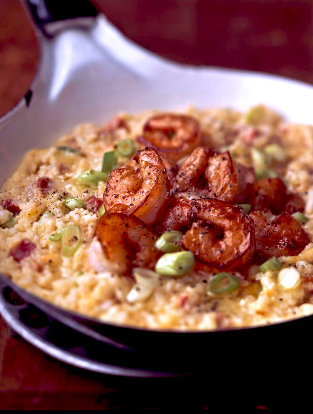 Cheddar Cheese Grits With Shrimp, Pancetta, and Scallions