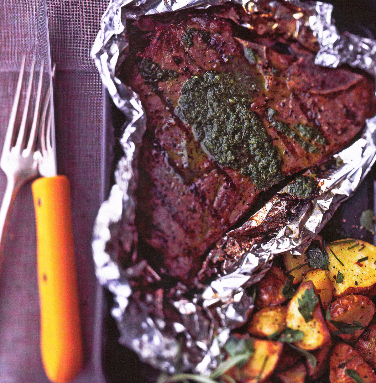 Grilled T-bone Steaks With Parsley And Garlic Sauce