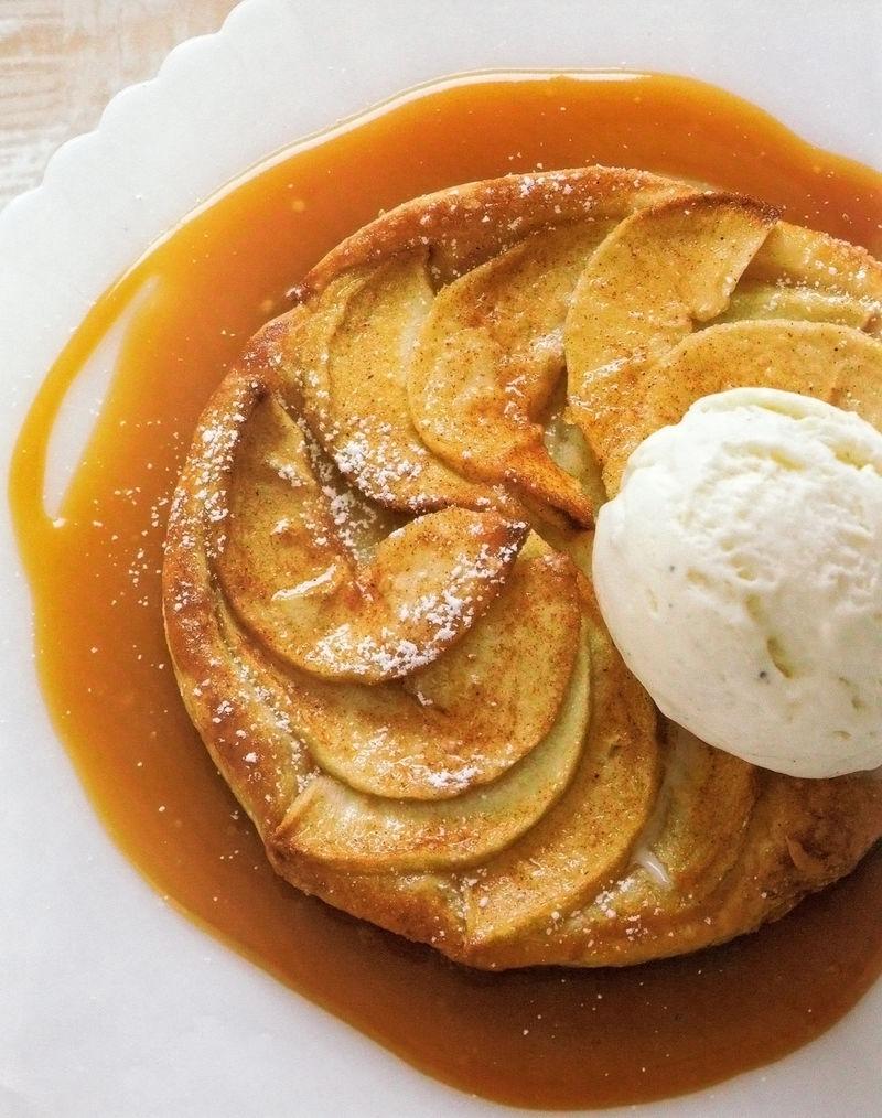 G Garvin | Apple Tart With Caramel Sauce & Vanilla Ice Cream
