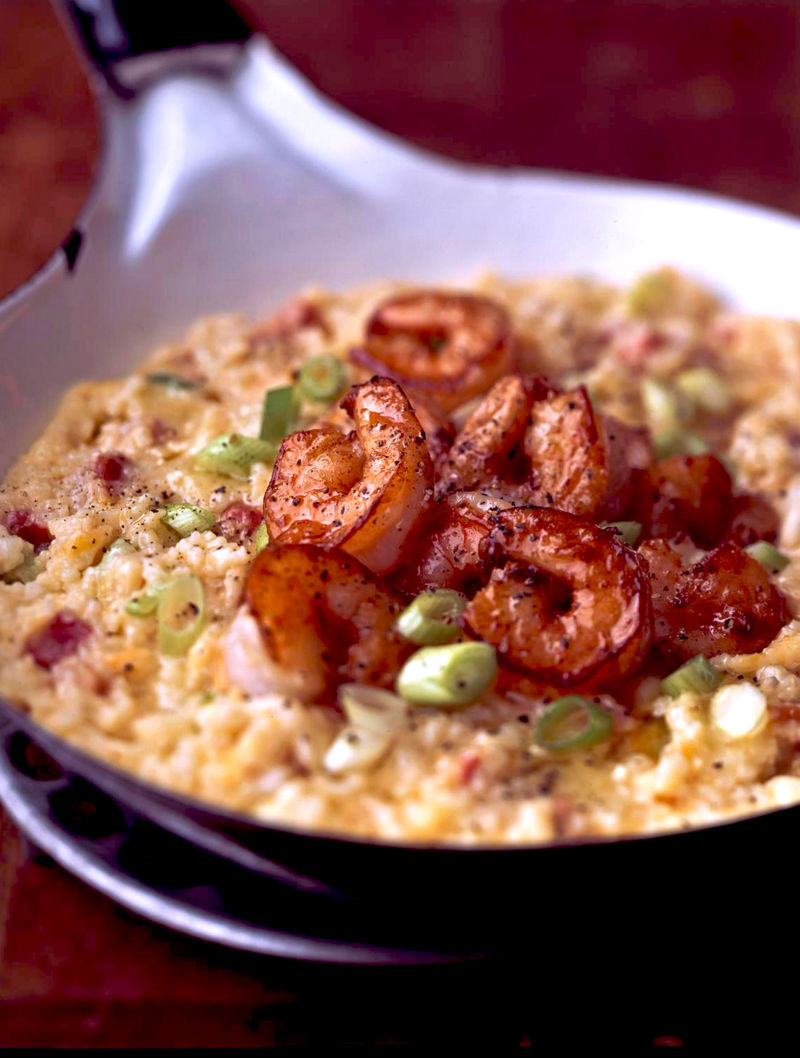 G Garvin | Cheddar Cheese Grits With Shrimp, Pancetta, And ...